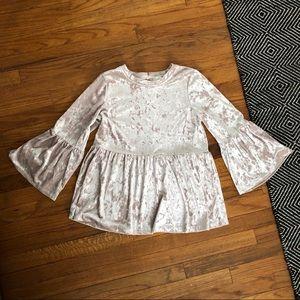 Cupio Crushed Velvet Bell Sleeve Shirt.